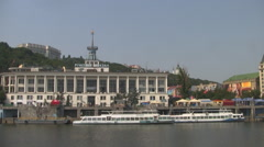 UKRAINE. KIEV. AUGUST 2011: View from the water - stock footage