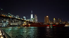 New York skyline with big boat on Hudson River - stock footage