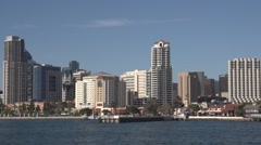View of San Diego from the harbor Stock Footage