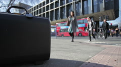 Copy space: Euston station with travellers and buses - stock footage
