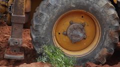 Close up of Bulldozer tractor wheels Stock Footage