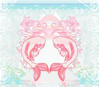 Japanese koi background Stock Illustration