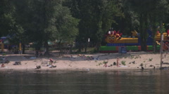 UKRAINE. KIEV. AUGUST 2011: Gidropark (Water park) from the water Stock Footage