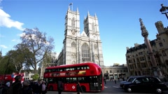 Westminster Abbey include West Door and towers. Stock Footage
