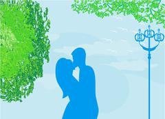 Stock Illustration of Couple kissing at sunset on the park, background illustration