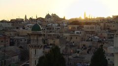 Muslim Quarter of Jerusalem at Dusk Stock Footage