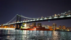 Fantastic evening shot of Hudson River and Manhattan Bridge - stock footage