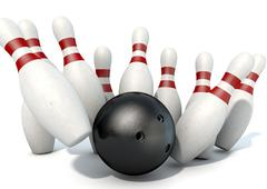 Ten Pin Bowling Pins And Ball - stock illustration