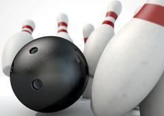 Ten Pin Bowling Pins And Ball - stock illustration