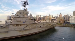 Aerial view Intrepid Sea, Air & Space Museum Stock Footage