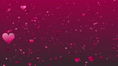Pink Hearts Rise on a Dark Pink Background, Abstract Motion Animation - stock footage
