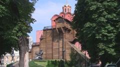 UKRAINE. KIEV. AUGUST 2011: Golden Gate. Monument to Yaroslav the Wise Stock Footage