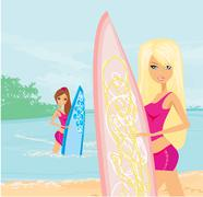 Beautiful girls with surfboards at a beach Stock Illustration