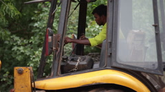 Indian JCB Bulldozer machine operator Stock Footage