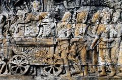 Buddhist bas-relief - stock photo