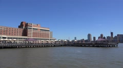 Hudson River Waterfront Walkway Stock Footage