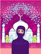 Illustration of a young beautiful muslim women on seamless mosque back Stock Illustration