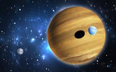 Extrasolar planet. Gas giant with moons. - stock illustration