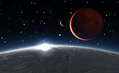 Stock Illustration of Sunrise over the Phobos with red planet Mars in the background