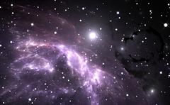 Space background with purple nebula and stars Stock Illustration