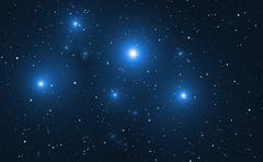 Stock Illustration of Space background with blue bright stars.