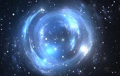 Space background with gravitational lensing - stock illustration