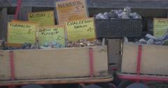 4K, Gemstones in boxes on farmers market Stock Footage