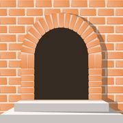 Arched medieval door in a brick wall with stairs - stock illustration