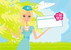 Beautiful stewardess with ticket - stock illustration