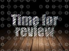 Time concept: Time for Review in grunge dark room - stock illustration