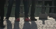 People walking around, only legs and feet Stock Footage