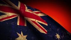 Australia Flag Waving, old, grunge look sunset Stock Footage