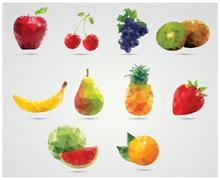 Collection of geometric polygonal fruits, triangles, apple, cherries, grapes, - stock illustration