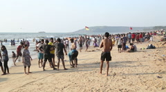 People at the beach in Goa. - stock footage