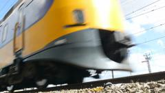 Train passing, low angle shot Stock Footage
