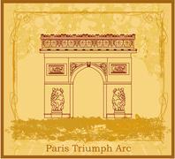Hand drawn illustration of Paris Triumph Arc - Grunge Background Stock Illustration