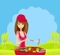 Woman cooking on a grill Stock Illustration