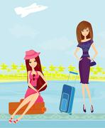 Stock Illustration of beauty travel girls with baggage