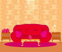 Fashionable interior of living room  Stock Illustration