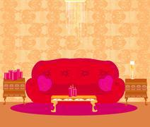 Stock Illustration of Fashionable interior of living room