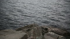 Stones on the lake Stock Footage