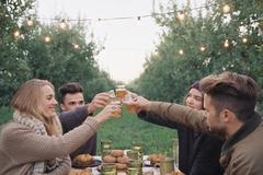Group of people toasting with a glass of cider, food and drink on a table. Stock Photos
