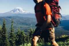 Washington, Gifford Pinchot NF, Goat Rocks Wlderness, Cascade Range, Mt. Adam - stock photo