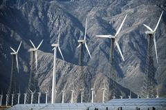 A row of wind turbines Stock Photos
