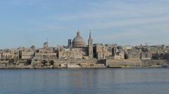 The view on Valletta in sunset, Sliema, Malta Stock Footage