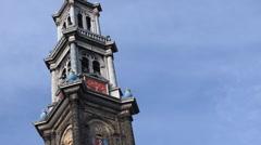 Amsterdam -  Western Church (Westerkerk) in the Jordaan n Stock Footage