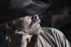 A man wearing a brimmed hat with his chin on his hand. Stock Photos