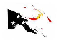 papua new guinea flag map - stock illustration