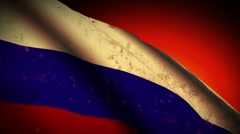 Russia Flag Waving, old, grunge look sunset Russian Federation Stock Footage