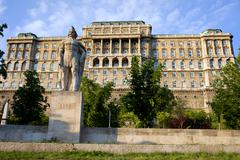 Stock Photo of Buda Castle & The Dozsa Statue